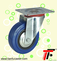 European-style industrial elastic rubber caster with brake