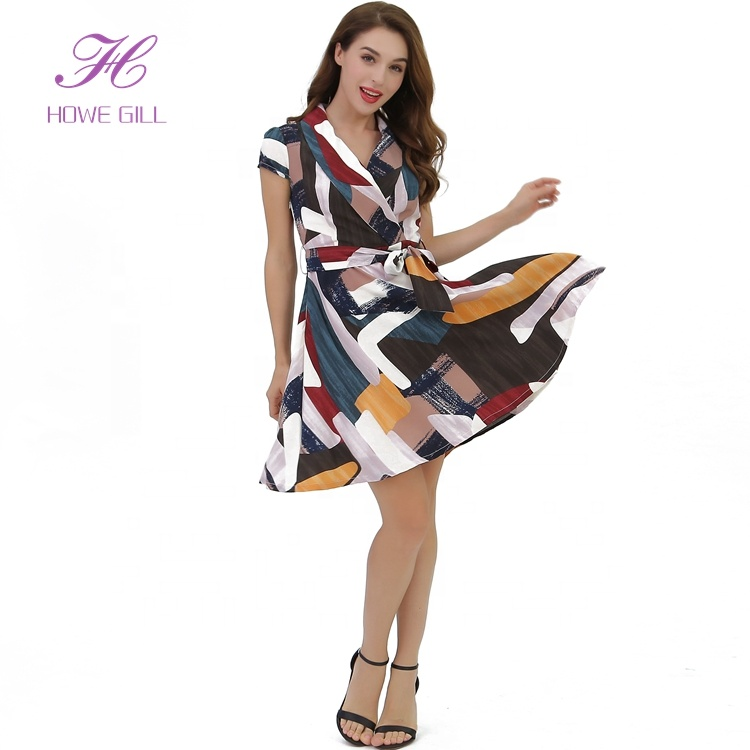 2019 Fashion Formal Print Cap Sleeves Suit Neck Short Office Casual Summer Women Dress