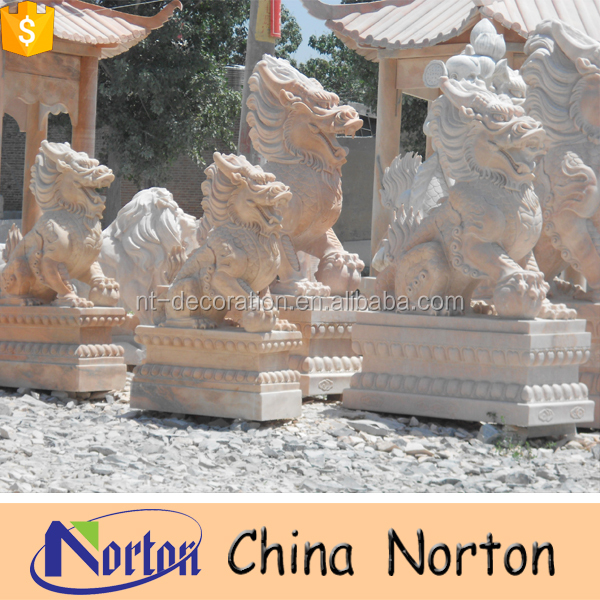 gate decorative stone chinese lion garden statues NTBM-E252S