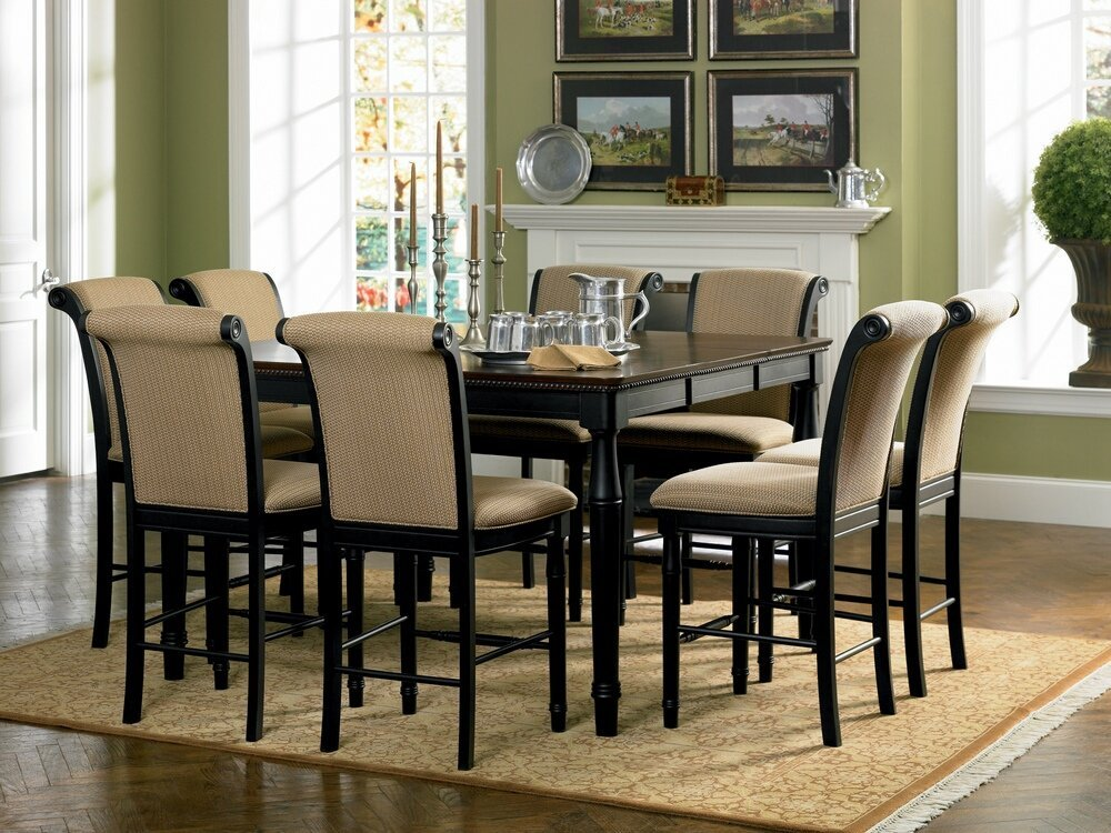 7 pc Cabrillo collection Black / amaretto finish wood counter height dining table set with upholstered seats and backs