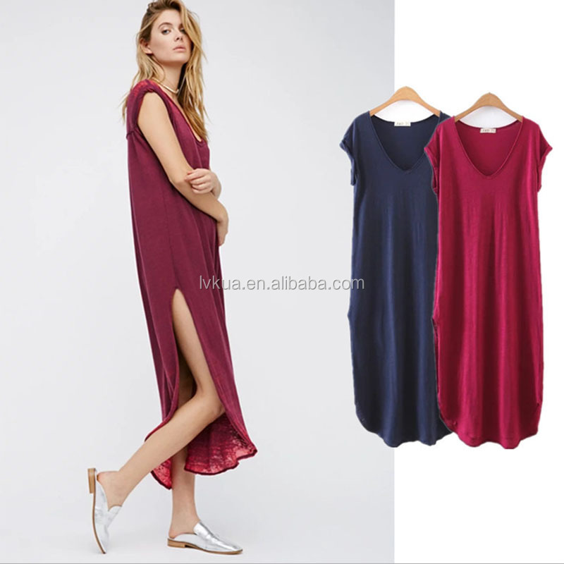 Chinese Wholesale Comfortable Women Summer Beach Casual Blank Short Sleeves Maxi Long Dresses