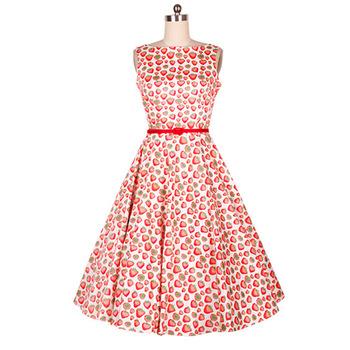 B10584a Womens Cotton Short Frock Designs Rockabilly Swing Prom