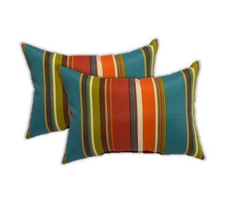 Teal Twill Mini Strip Pattern Resort Spa Home Decor Set of 4 Indoor//Outdoor Decorative Lumbar//Rectangle Pillows