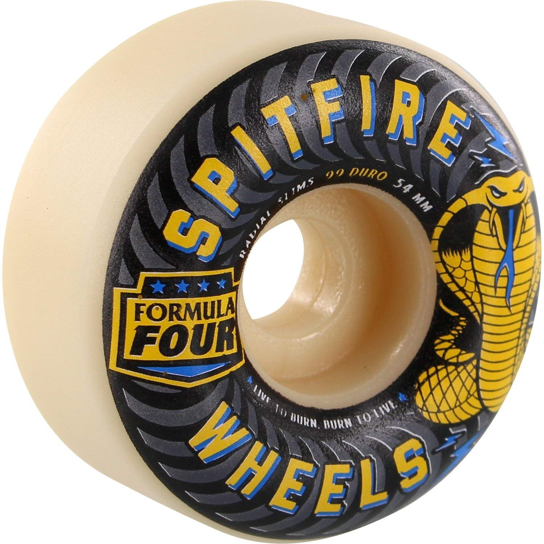 Spitfire Formula 4 99a Radial Slims 54mm White Skateboard Wheels (Set of 4)