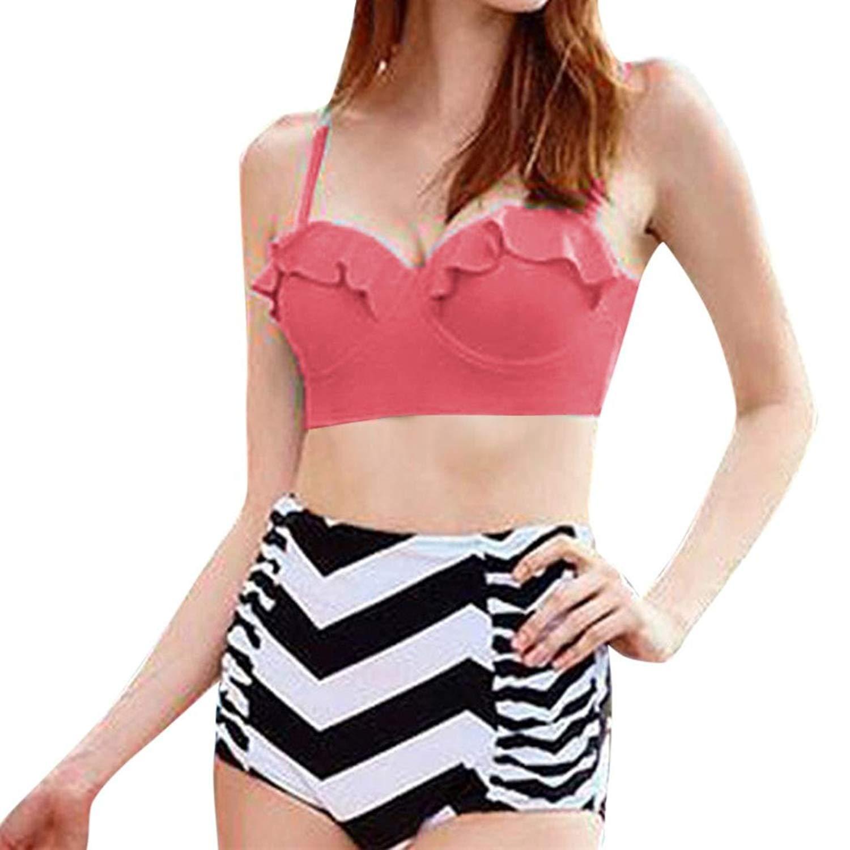 41b745de37 Get Quotations · ZLOLIA Women Summer Swimwear High Waist Bikini Push Up  Padded Swimsuit Stripe Shorts Bathing Suit