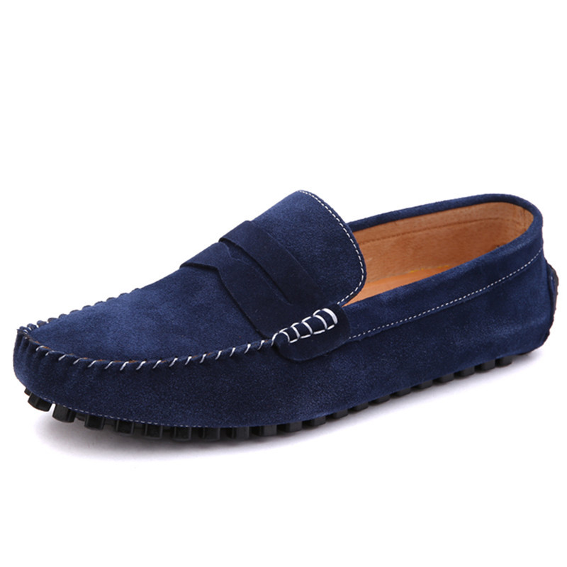 Newest 2015 High Quality Moccasins Man Loafers Shoes Genuine Leather Breathable Fashion Casual Man Flats Shoes Spring Blue 38-43