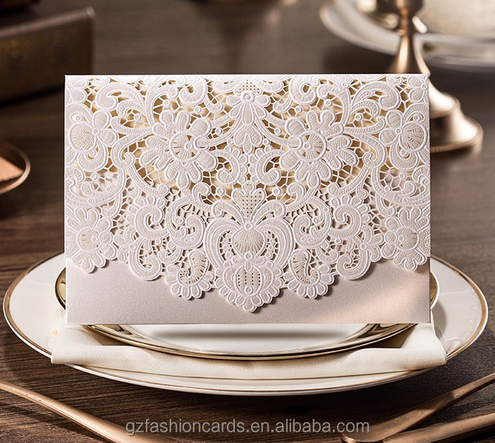 ventas al por mayor romntica elegante blanco cortado con lser en blanco tarjetas de invitacin de