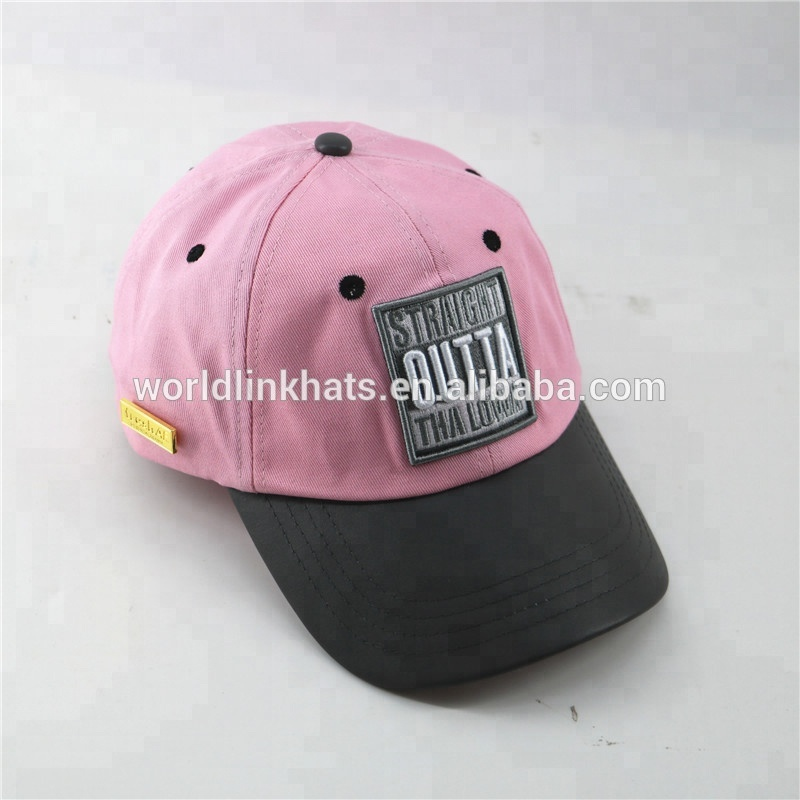 6241a97aeb2 Soft cotton panel pink baseball cap and unstructured camo dad hat with  custom logo metal badge made In China