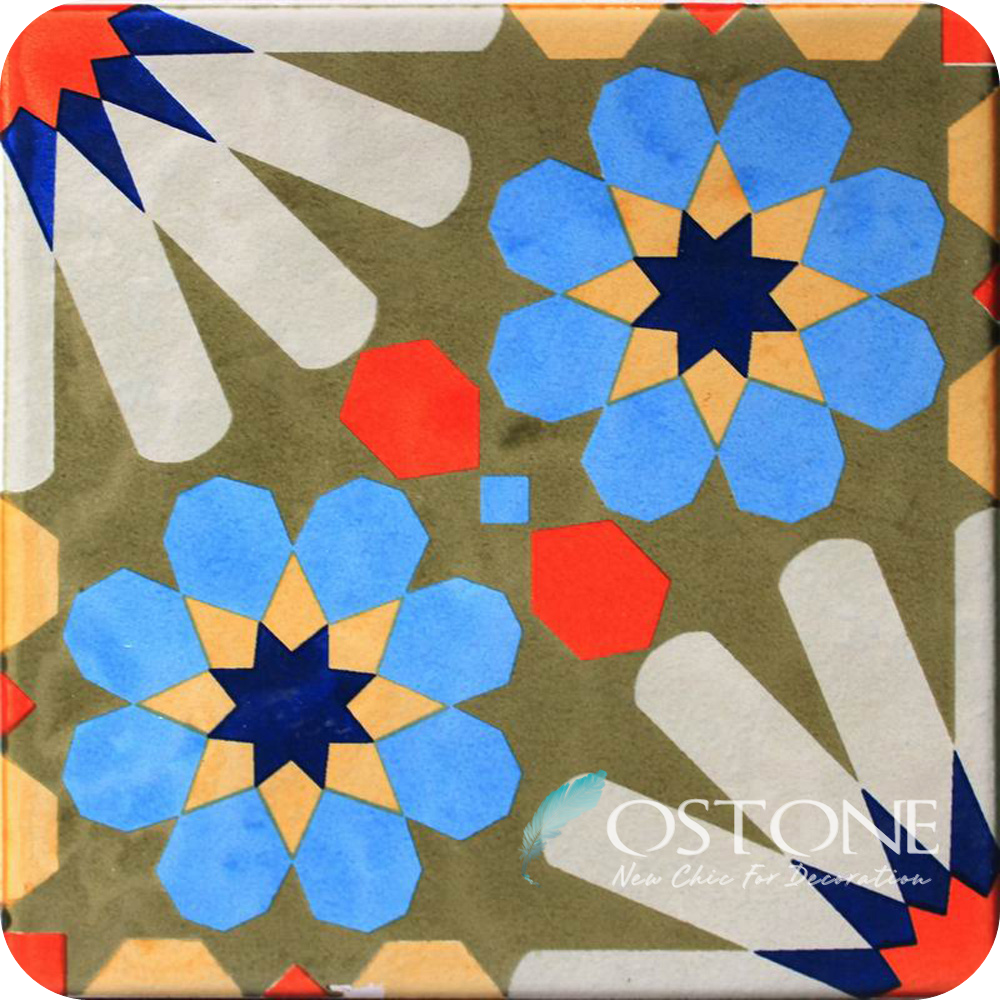 Beautiful Abstract Chinese Flower Pattern Anti Skid Porcelain Floor Tiles