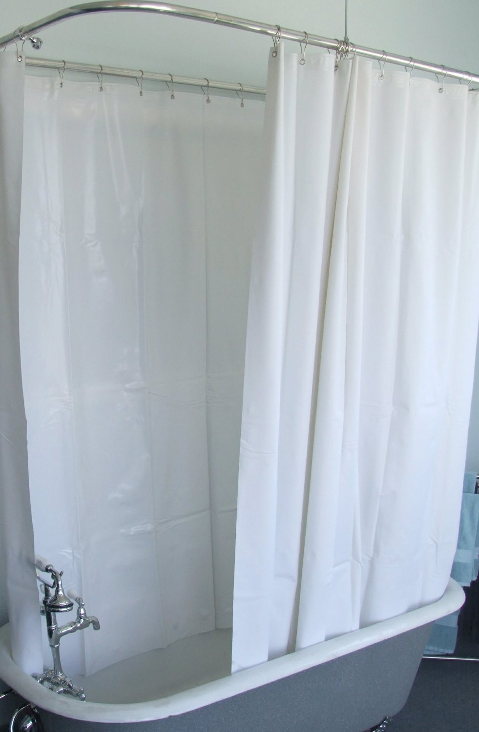 Get Quotations DL Extra Wide Vinyl Shower Curtain For A Clawfoot Tub White With Magnets 180