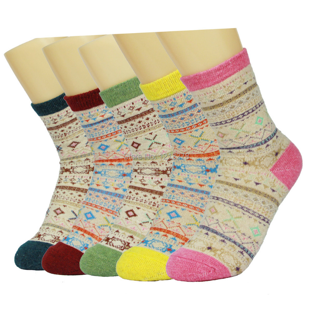 10pcs/5pair/lot High quality  women thermal winter rabbit wool socks female thickening towel 100% cotton socks meias gift sock