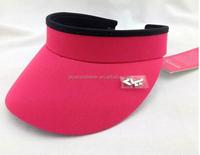 Fashion Pink Long Bill Sun Visor Hat for Women Head Band with Metal Logo