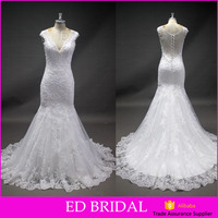 LN299 Best sellig see through back beaded lace appliqued mermaid real sample wedding dress bridal gown latest