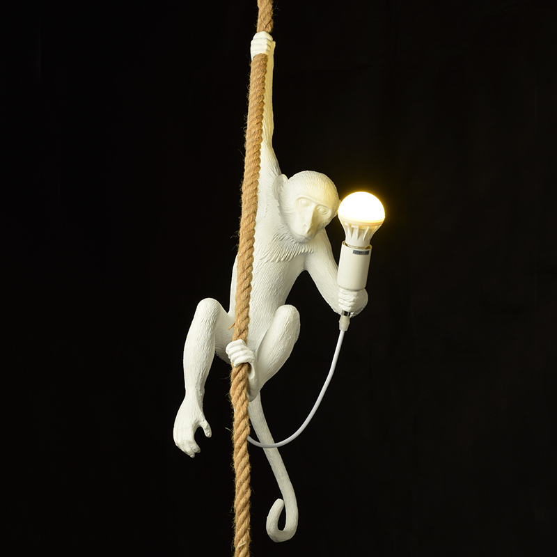 Fancy Decorative Lighting Resin Monkey Rope hanging pendant <strong>lamp</strong>