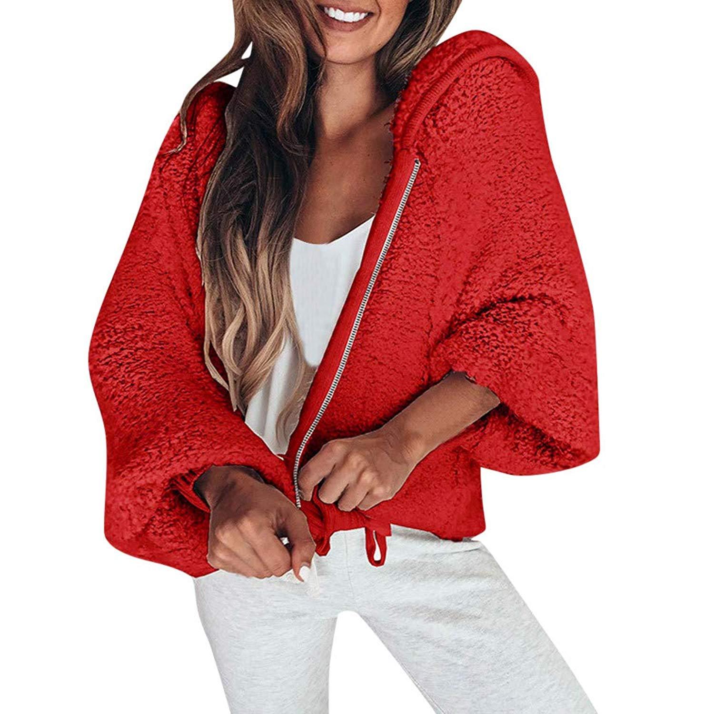 Seaintheson Women Winter Faux Fur Hooded Coat Clearance, Fashion Long Sleeve Zipper Solid Color Cotton Warm Jacket Outerwear
