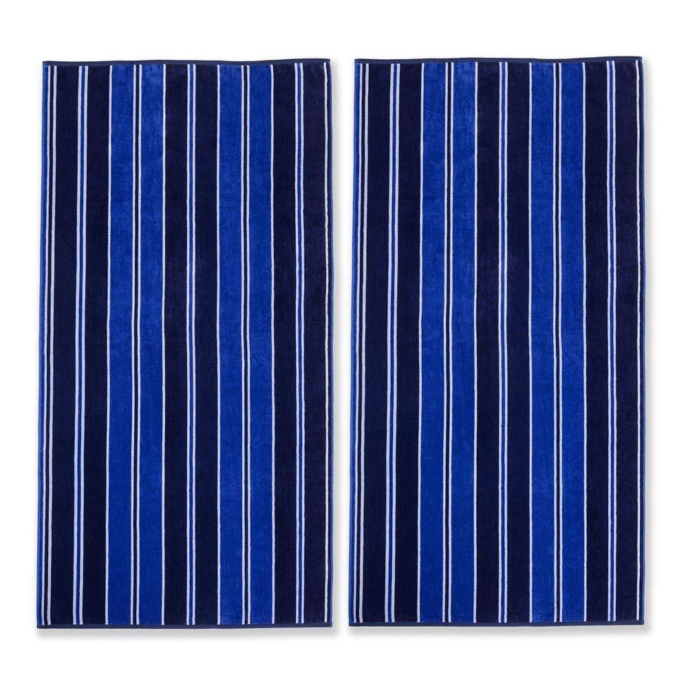UK4 2 Piece Blue Oversized Striped Beach Towel Set, Black Jacquard Line Pattern Cabana Stripe White Vertical Stripes Beaches Sea Ocean Vibrant Bold Colors Pool Side Trendy Sleek, Cotton