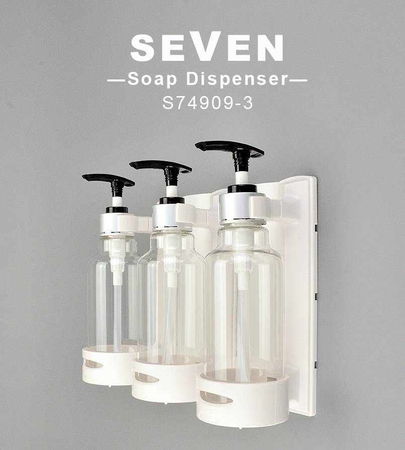 Wall Mounted ABS Manual Triple Liquid Soap Dispenser Shampoo Dispenser