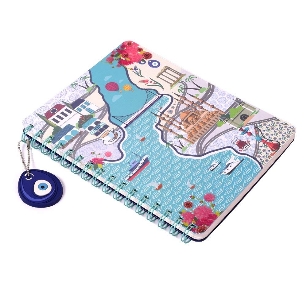 """Doodle Artsy Europe Spiral Bound Notebook Diary, Paper & Transparent PVC Cover, 200 Pages (140 Unruled & 60 Dotted Pages), (6.5""""X 8.5"""")"""