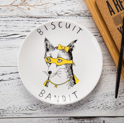 custom animal design round shape ceramic <strong>plate</strong> for pizza