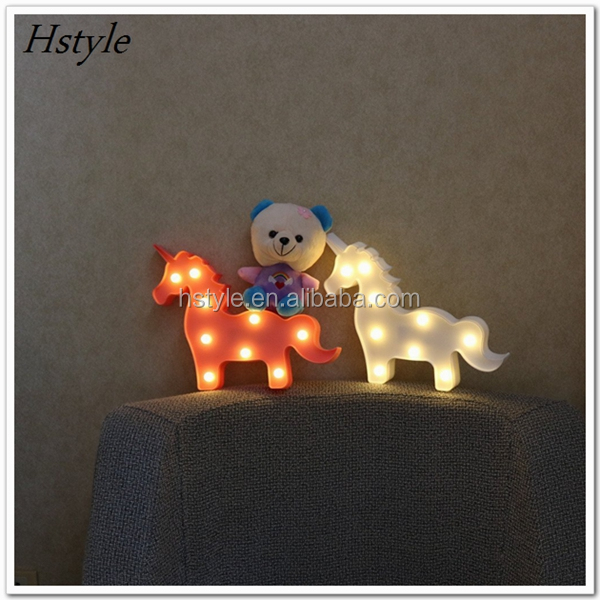 Unicorn Shaped Table Lamp 3D White Marquee Unicorn Sign Letter Nightlight Home Decoration Battery Operated SNL110