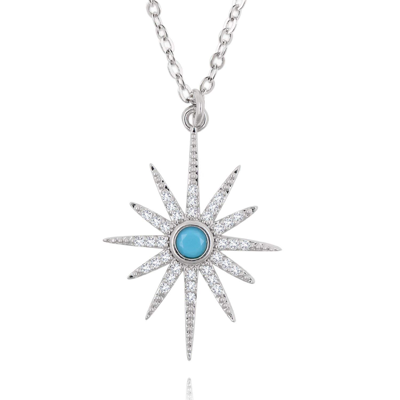 BOUTIQUELOVIN Starburst Pendant Necklace Paved Bling Cubic Zirconium for Women Girls (white gold)