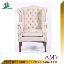 French Style Upholstery Living Room wooden arm Sofa Chair With Wooden Frame Copper Nail ,wooden dining sofa chair