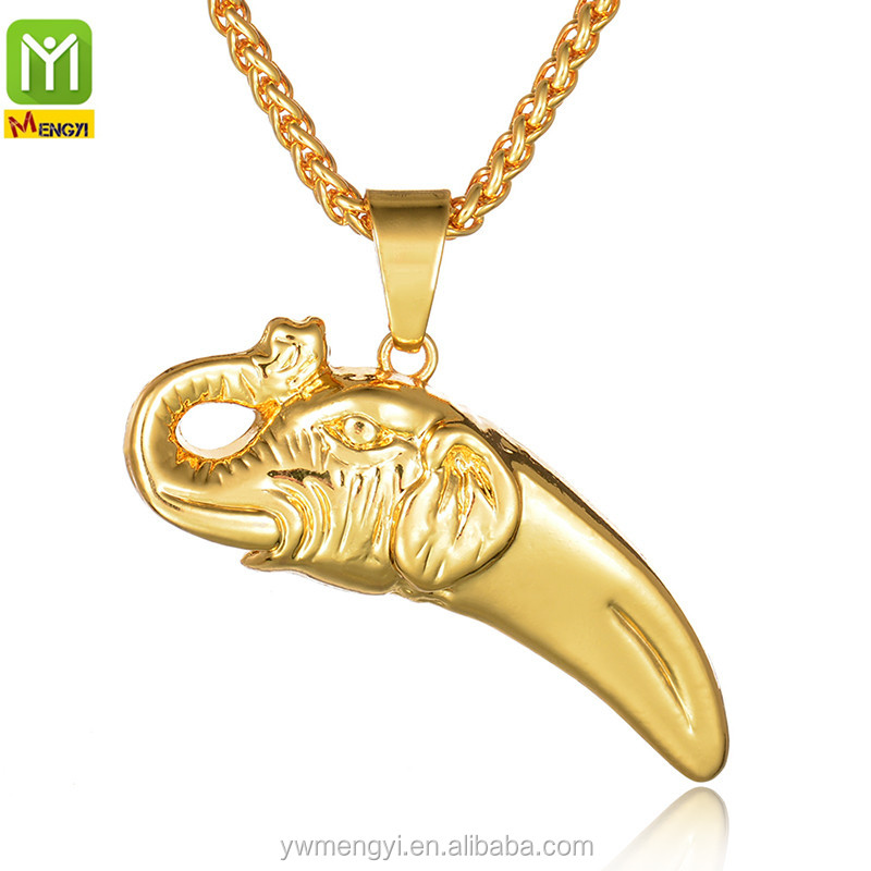 Hip Hop Trending Men Hip Hop Pendant Chain 14k gold plated jewelry Elephant Gold Necklace