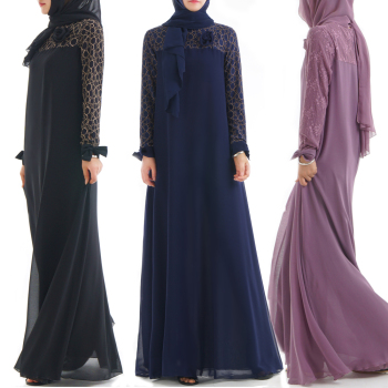 2018 Long Dress Chiffon New Style Muslim Women Clothing Lace Chiffon Abaya