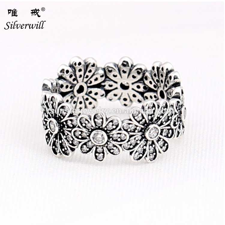 Flower clusters sparkling classic lace ring sterling 925 <strong>silver</strong>