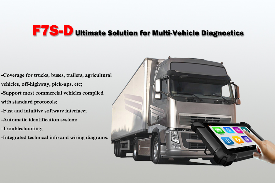 Bus truck diesel scanner FCAR F7S-D for all 24V heavy-duty vehicles Injector Program DPF  Cylinder Cutoff Bluetooth WiFi