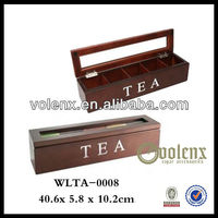 Wooden Carved Tea Bag Box Holder Wholesale with Clear Glass Top