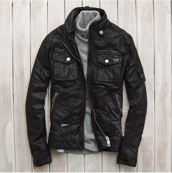 men coat genuine leather high quality sheep skin punk cool ...