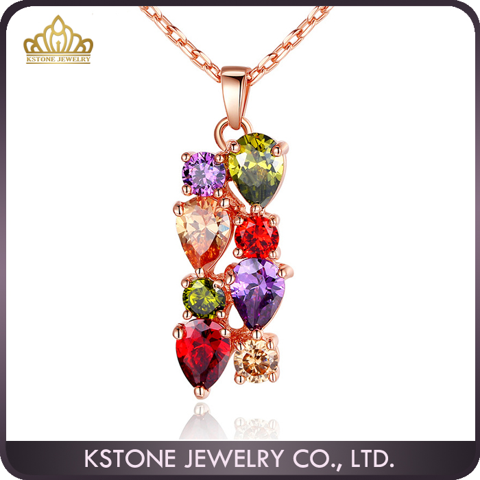 KSTONE Hot Sell Women 18k Gold Plated Multicolor CZ Necklaces & Pendants