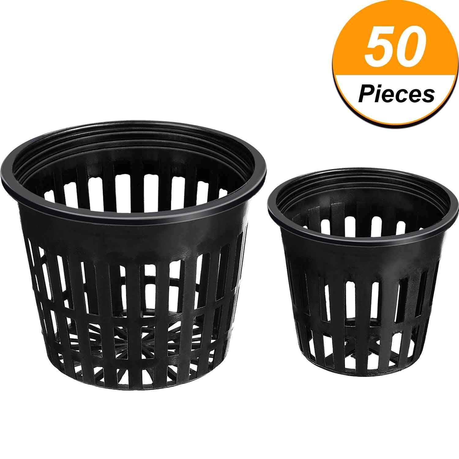 Jovitec 50 Pieces Net Cup Set, 25 Pack 3 inch Net Cups Slotted Mesh Wide Lip with 25 Pack 2 inch Net Cups Filter Plant Net Pot Bucket Basket for Hydroponics