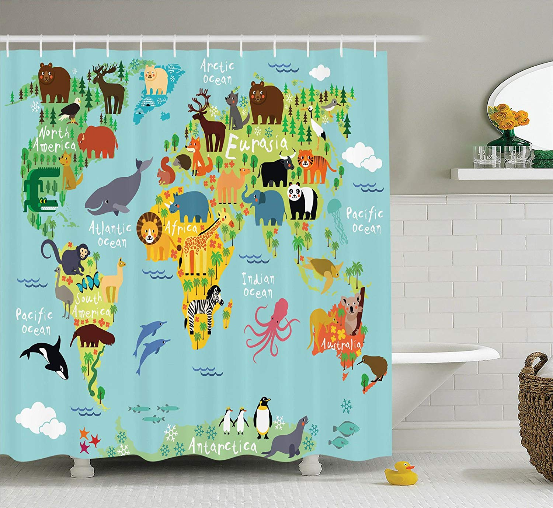 Wanderlust Decor Animal Map Of The World For Children And Kids Cartoon Mountain