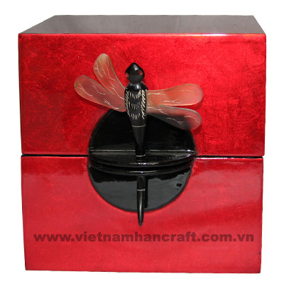 Eco-friendly traditionally hand finished vietnamese silver metallic red lacquer jewelry holders with Buffalo horn dragonfly pin