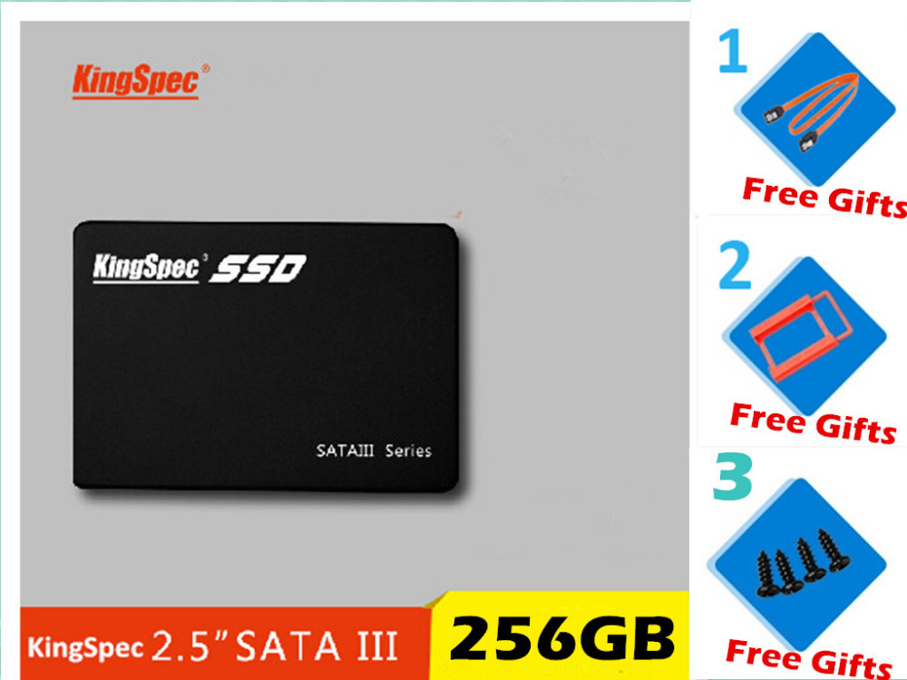 Free shipping brand kingspec 2 5 SSD 256GB Hard Drive Disk internal with free rack 2