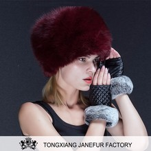 Lastest design red brown fox fur custom beanie lady hat with a tail