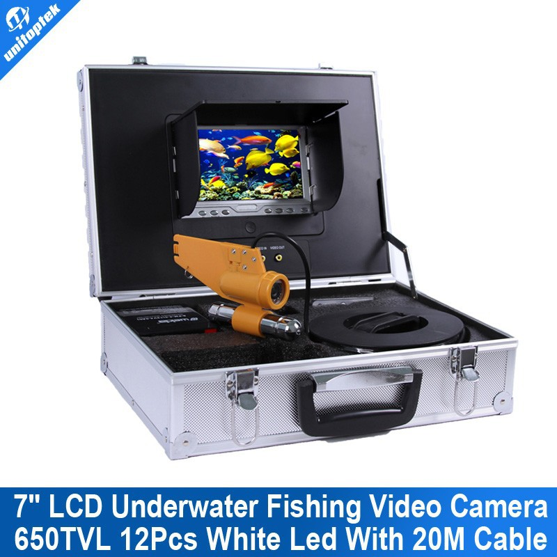 20m Cable Underwater Fish Camera With 7 Inch LCD Underwater fishing Camera HD 12Pcs White Leds Fish Finder Camera
