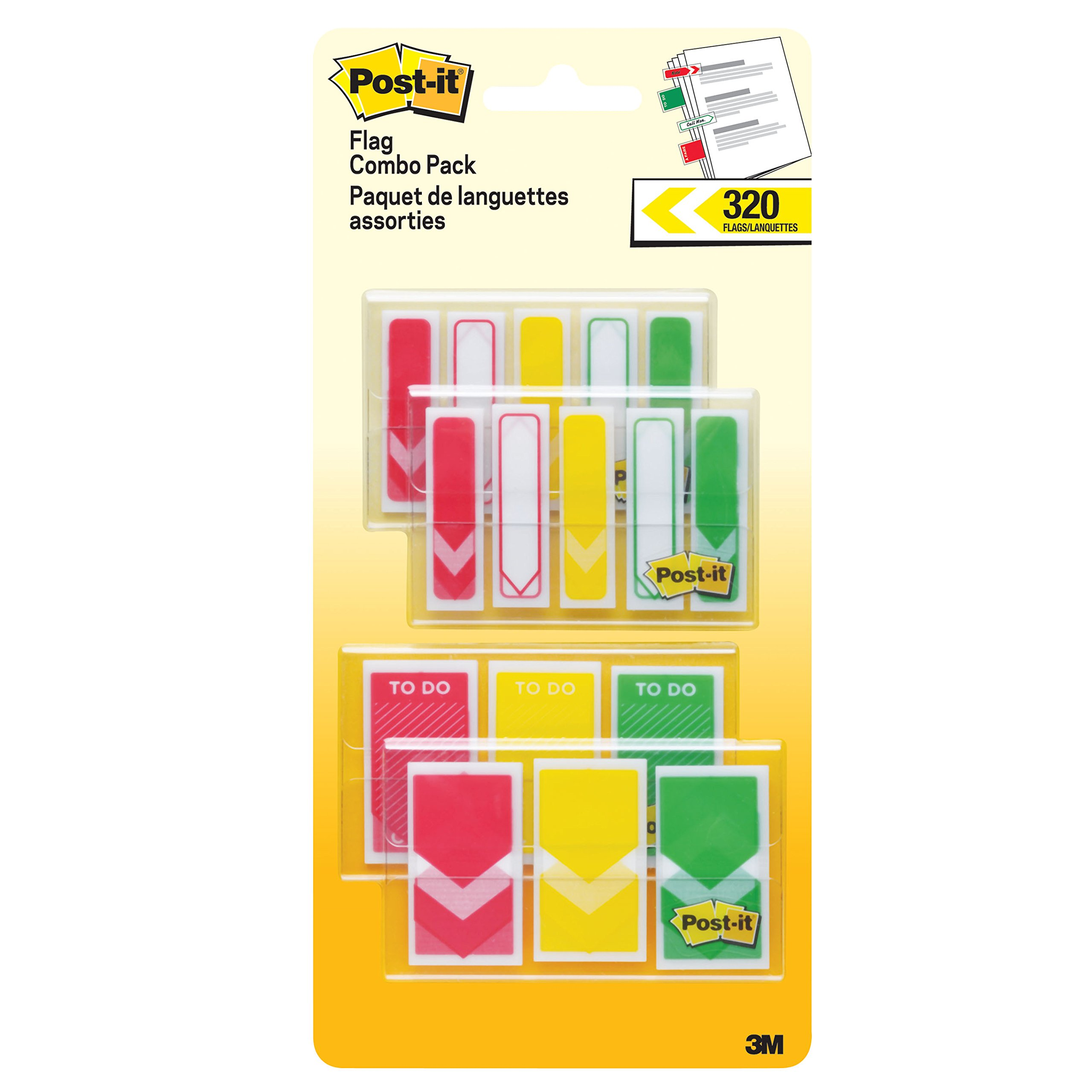 "Post-it Prioritization Flags Value Pack,""Arrow"", Stick Securely and Remove Cleanly Without Damaging Documents, Red, Yellow, Green.94 in. and .47 in. Wide, 320 Flags/Pack, (682-RYG-VA)"