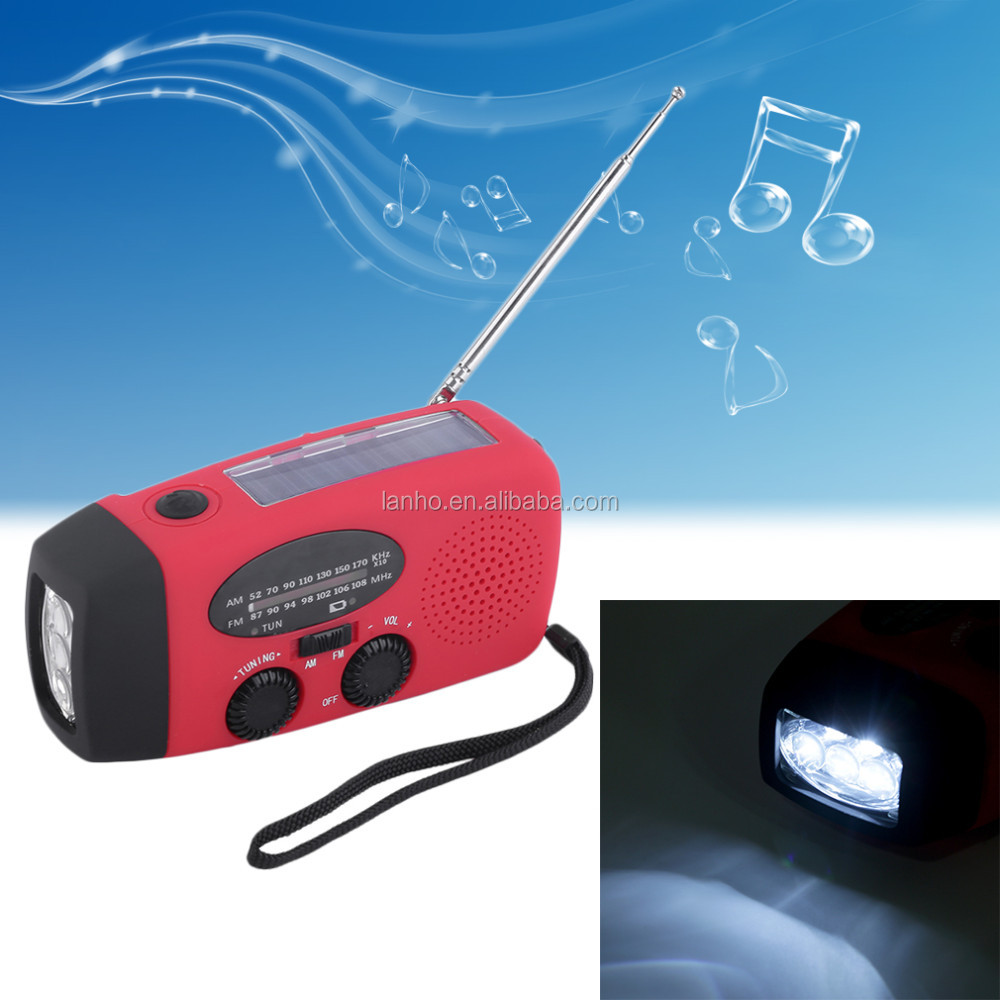 3 in 1 emergency charger hand crank generator with radio Wind up/Solar/Dynamo Powered FM/AM Radio,Phones Chargers LED Flashlight