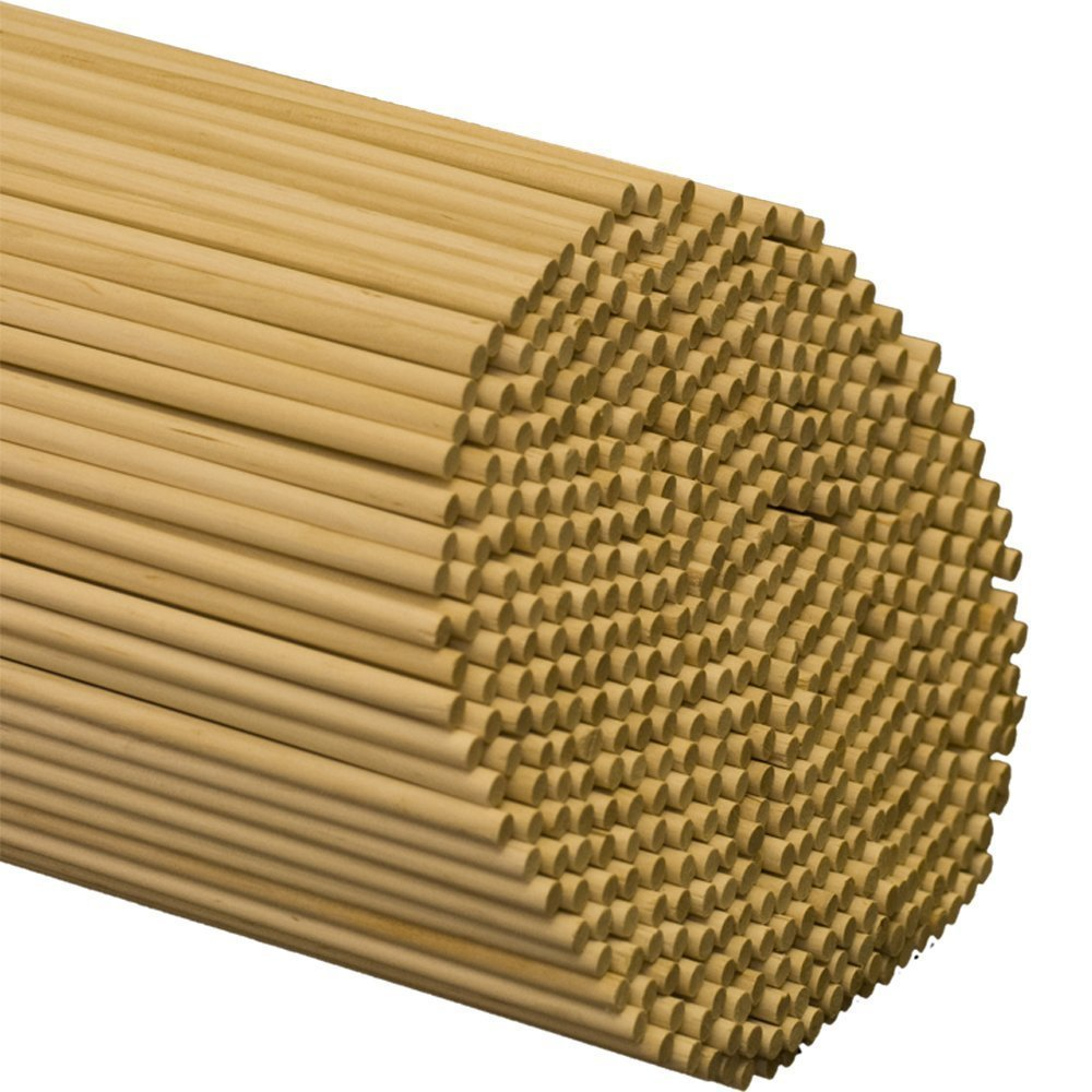 "Wooden Dowel Rods – 3/16"" x 36"" Unfinished Hardwood Sticks – For Crafts and DIY'ers – 25 Pieces – Woodpecker Crafts"