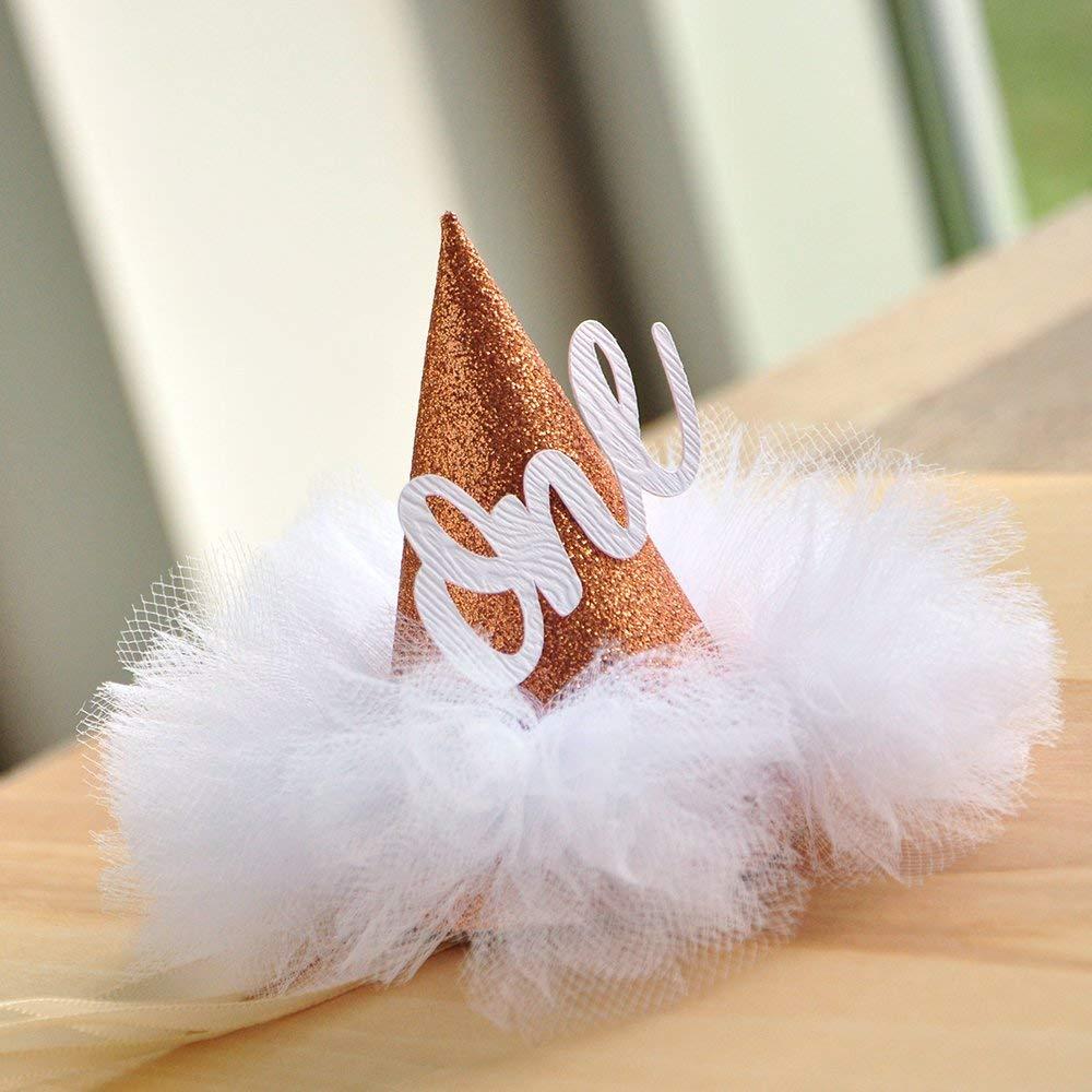 First Birthday Hat. Rose Gold Birthday Hat. Smash Cake Hat. Winter Onederland Mini Party Hat.