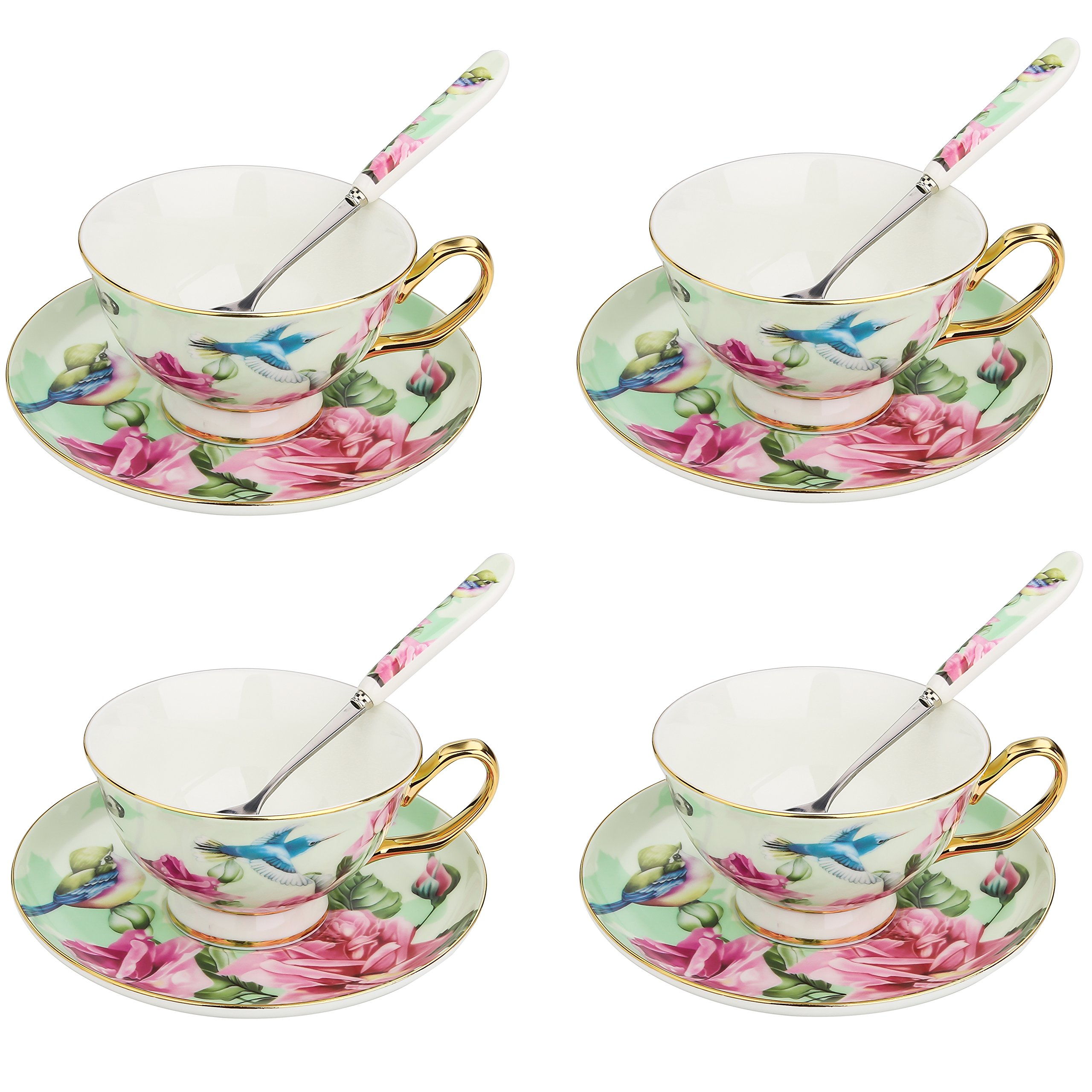 Get Quotations · ARTVIGOR Green Flower and Birds Painting Coffee \u0026 Tea Serving Set 6.8oz New Bone  sc 1 st  Alibaba & Cheap Bone China Cup Saucer Plate Sets find Bone China Cup Saucer ...