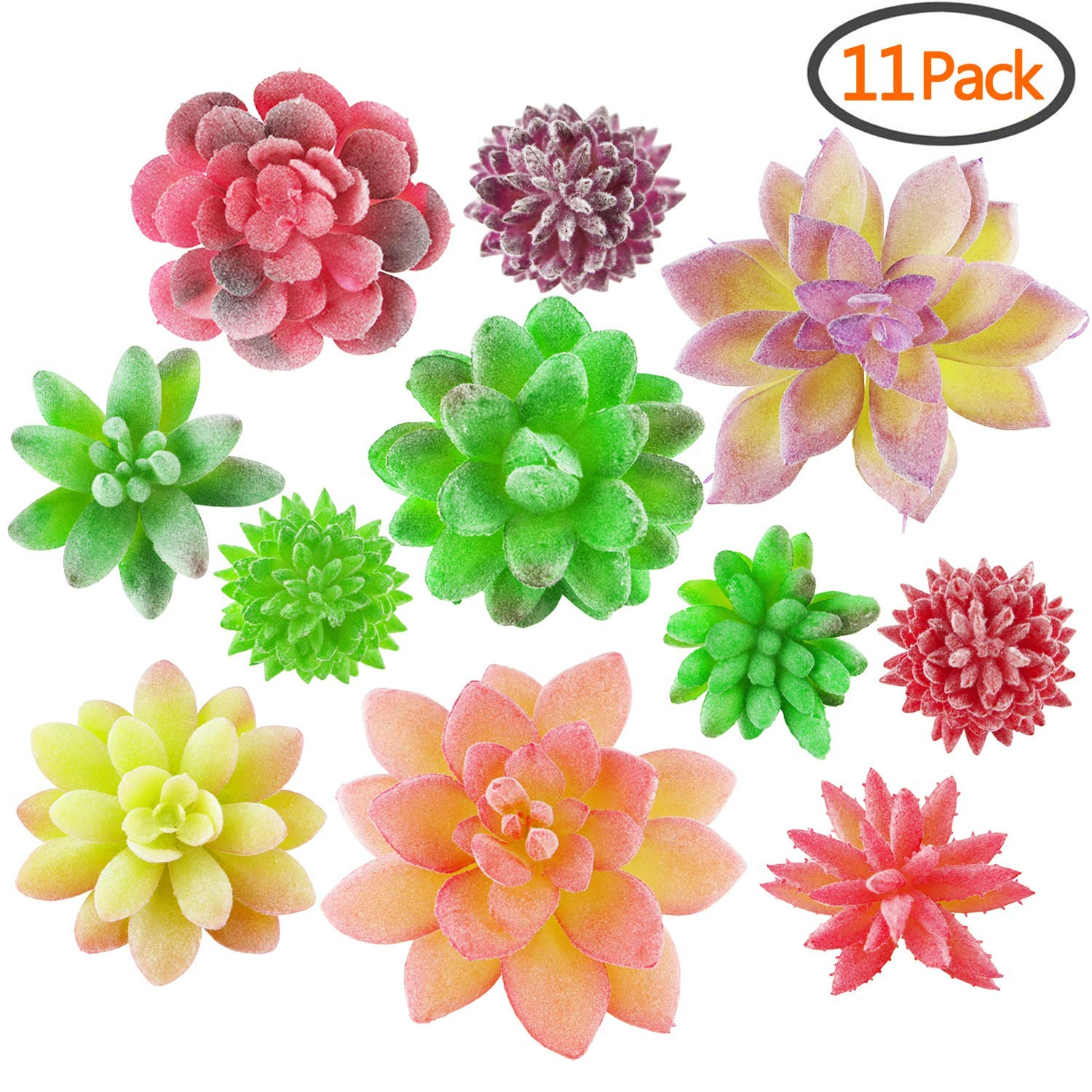 YIPINTANG Artificial Succulent Plants, 11 Pcs Mini Fake Succulent Assorted Picks in Flocked, Faux Succulents Unpotted Home Decor Indoor Wall Garden DIY Photography (11 Pcs)