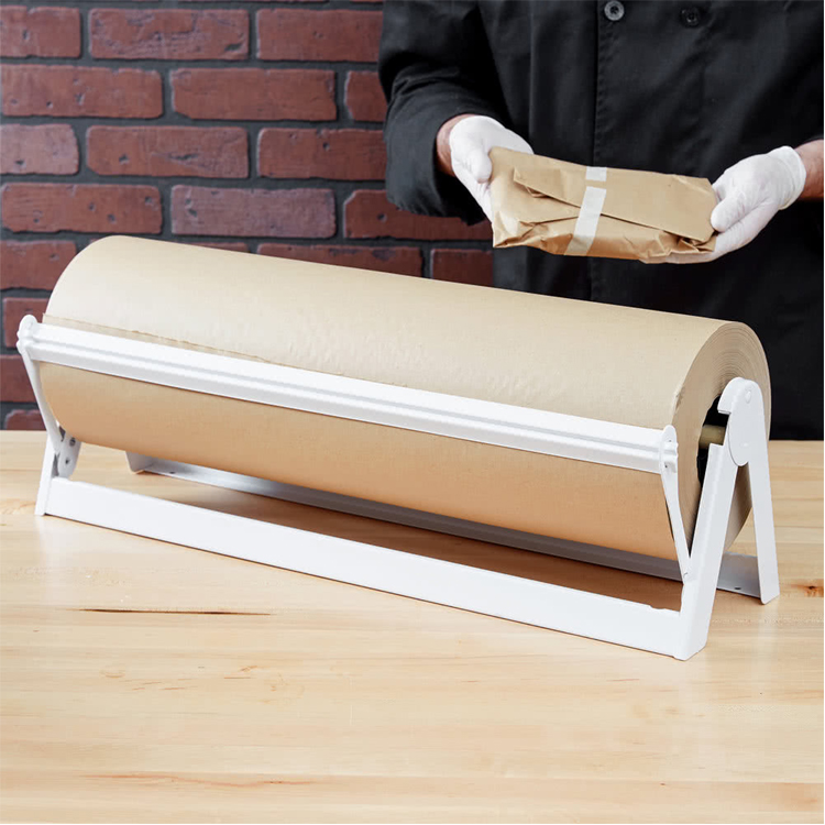 "Standard 24"" White Steel All-In-One Paper Dispenser / Cutter"