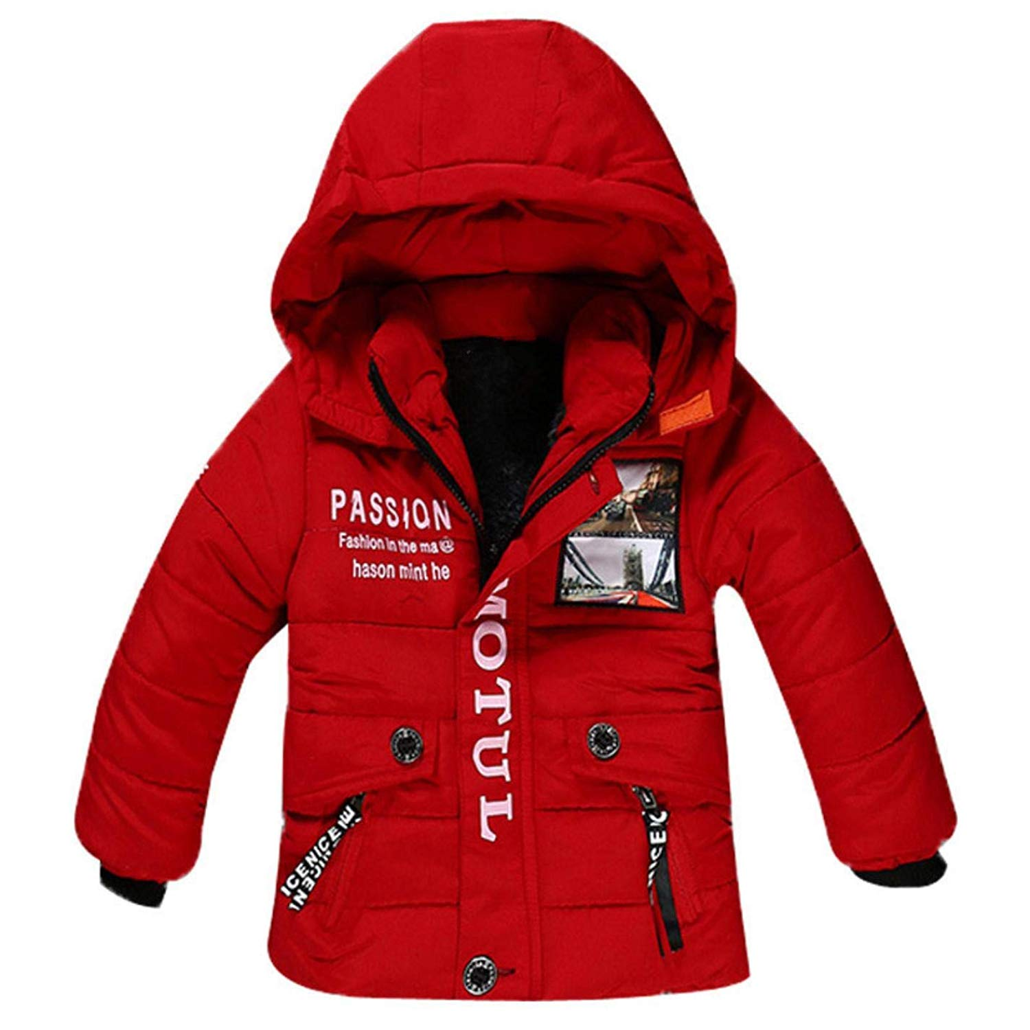 LzCxZDKN Boys Fur Hooded Warm Cotton Outerwear Coat Children Jacket Clothes