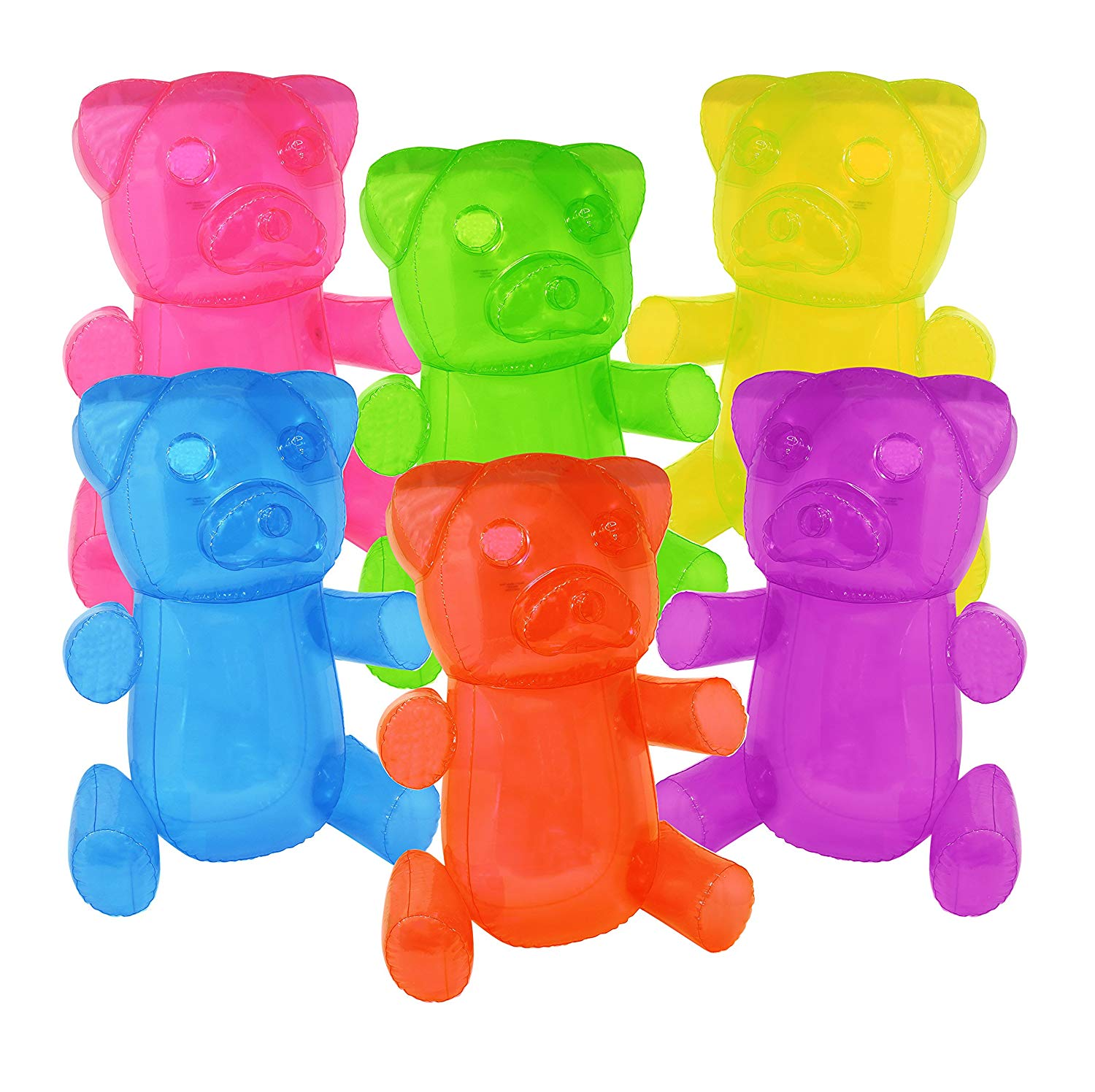"SNInc. 24"" Inflatable Gummy Bears Fun Party Decoration in Assorted Random Colors (Pack of 3 Bears)"