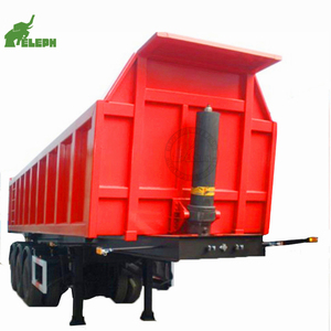 Factory 3 axle 60 cubic meter 80ton capacity semi trailer end dump truck tipper trailer