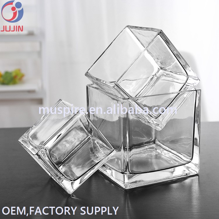 GV-130 SQUARE cheap home wedding decoration small glass flower vase (4)